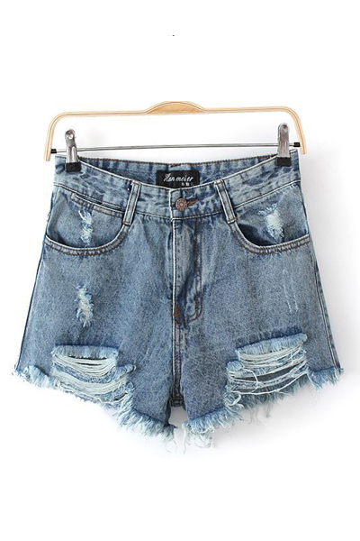 New Style Solid Button Fly Mid Regular Blue Cotton Shorts