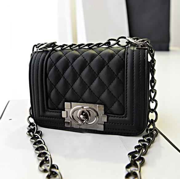 Fashion Women Solid Hasp Black PU Shoulder Bag