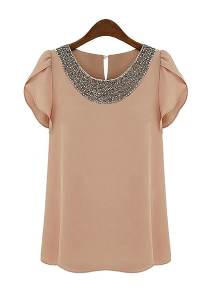 New Style O Neck Short Sleeve Solid Pink Blouse