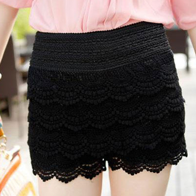 Fashion Blends Solid Elastic Waist Mid Regular Black Cotton Shorts