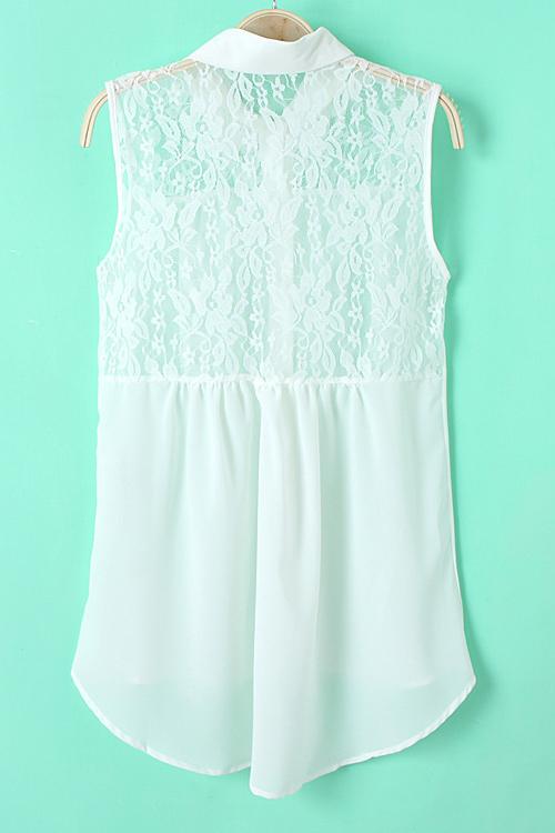 Fashion Turndown Collar Solid White Chiffon T-Shirt