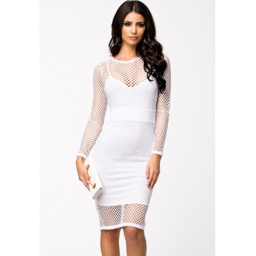Sexy O Neck Long Sleeve Sheath White Polyester Mini Dress