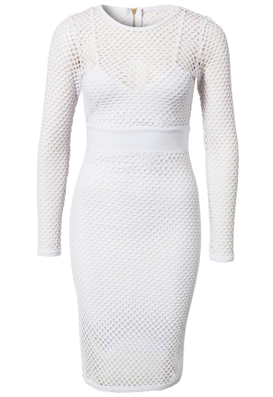 Sexy O Neck Long Sleeve Sheath White Polyester Mini Dress
