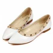 Casual Pointed Toe Closed Basic Low Heel White PU