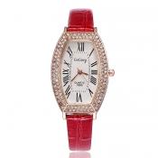 Fashion Woman Diamond Roman Numerals Red PU Watch
