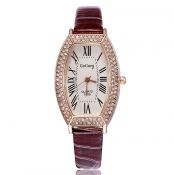 Fashion Woman Diamond Roman Numerals Brown PU Watc