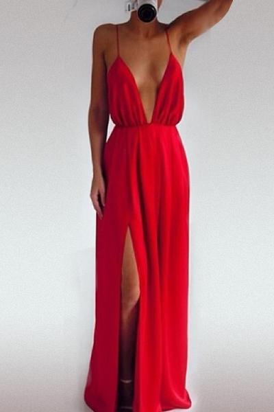 V Neck Backless Dress
