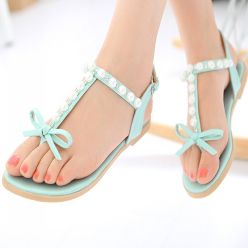 Casual Clip Toe Bow Embellished Pearls Decorated Flat Low