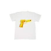 Free Style O Neck Short Sleeves Gun Print White T-