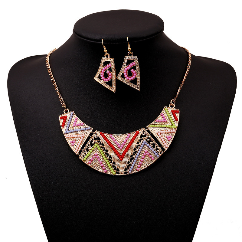 Fashion Colorful Beads and Rhinestones Embellished Geometric Patterns Shaped Metal Necklace