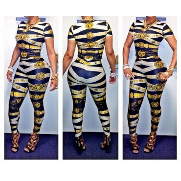 Sexy Striped Printed Skinny Polyester Two-piece Jumpsuits