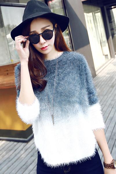 Cheap New Style O Neck Long Bat Sleeves Patchwork Indigo-blue Regular Pullover Sweater