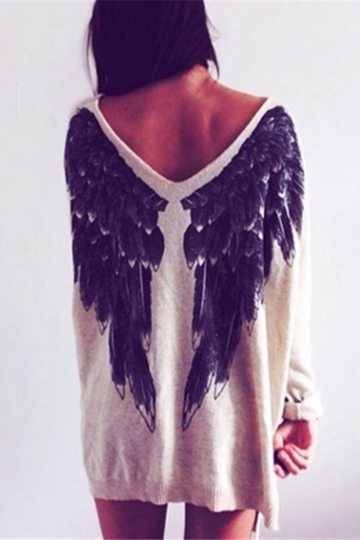 Cheap Fashion O Neck Long Sleeves Angel's Wing Print Grey Regular Pullover Sweater