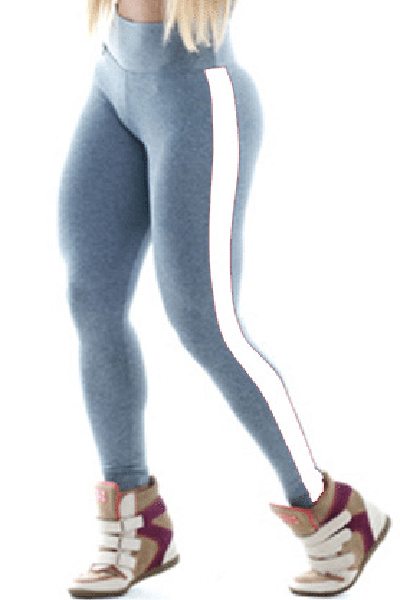 Cheap Casual Mid Waist Patchwork Grey Polyester Leggings