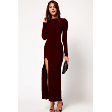 Cheap Sexy O Neck Long Sleeves Side Split Date Red Polyester Ankle Length Dress
