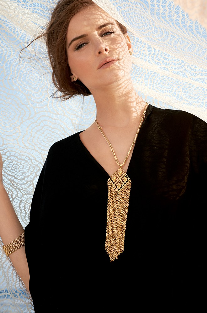 Cheap fashion tassel shaped gold metal necklace necklace for Stella and dot jewelry wholesale