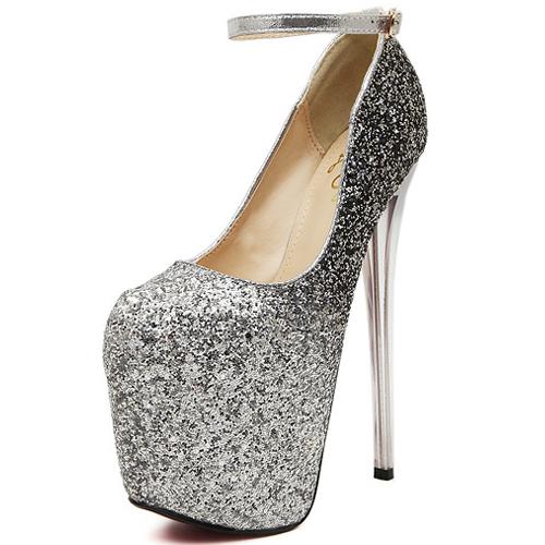 Cheap Fashion Round Closed Toe Stiletto Super High Heel Silver PU ...