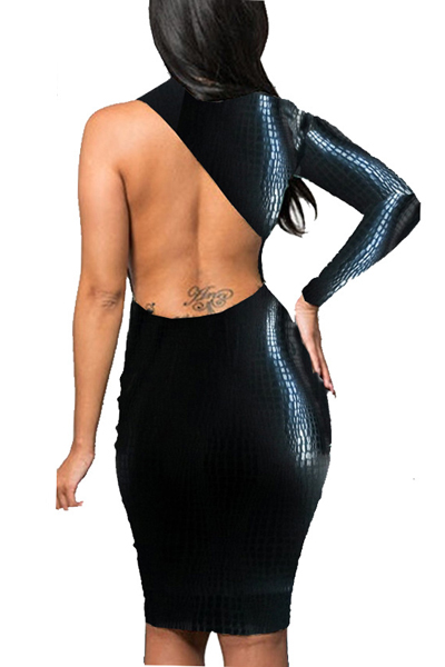 Cheap Sexy O Neck One Shoulder Long Sleeve Back Hollow-out Cobra Black PU Sheath Mini Bodycon Dress