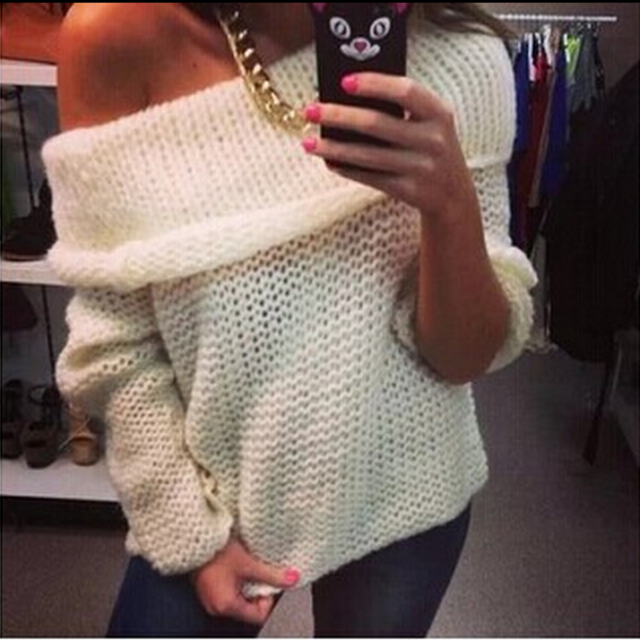 Cheap Sexy Bateau Neck Off The Shoulder Long Sleeves White Polyester Regular Pullover Sweater