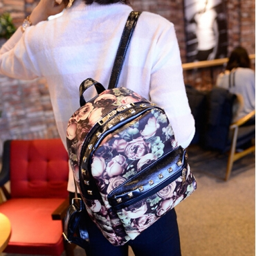 Cheapy Floral Print Zipper Desgin Women PU  Backpack
