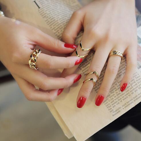Cheap Fashion Geometri Shaped Gold Metal Ring Set