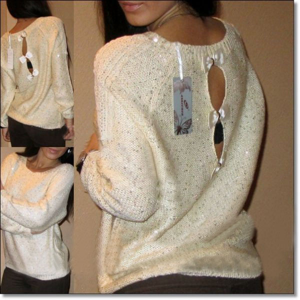 Cheap Fashion O Neck Long Sleeves Back Hollow-out Bow-tie Decorated Sequined Beige Blending Regular Pullover Sweater