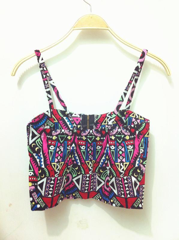 Cheap Sexy Spaghetti Strap Front Zipper Design Geometri Pattern Patchwork Print Red Blending Short Vest