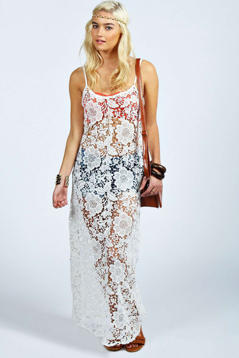 fcf824be7b Cheap Sexy Spaghetti Strap V Shape Backless Hollow-out Solid White Lace  Cover-up