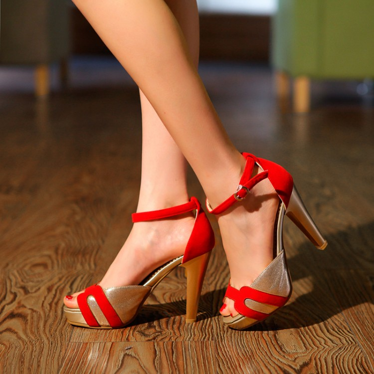 Cheap Fashion Patchwork Chunky Super High Heel Red PU Ankle Strap ...