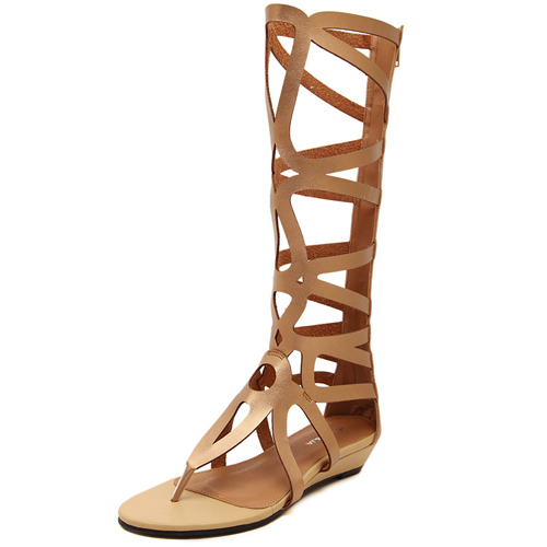 Fashion Clip Toe Hollow-out Flat Low Heel Gold PU Gladiator ...