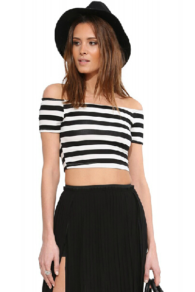 Cheap Fashion Bateau Neck Short Sleeves Striped Black Polyester T-shirt