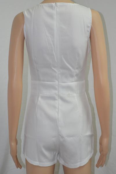 Sexy V Neck Tank Sleeveless Asymmetrical Solid White Mini Dress