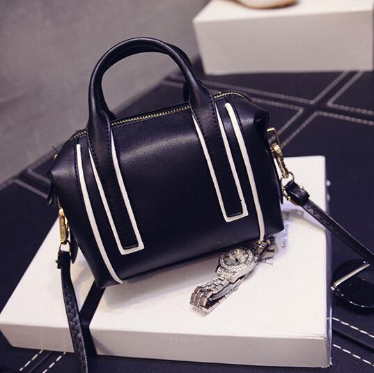 Cheap Women Fashion Zipper Design Patchwork Black PU Slanting Bag