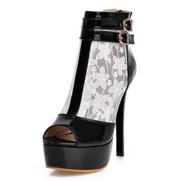 Cheap Fashion Round Peep Toe Hollow-out Mesh Patchwork Stiletto Super High Heel White PU Basic Pumps