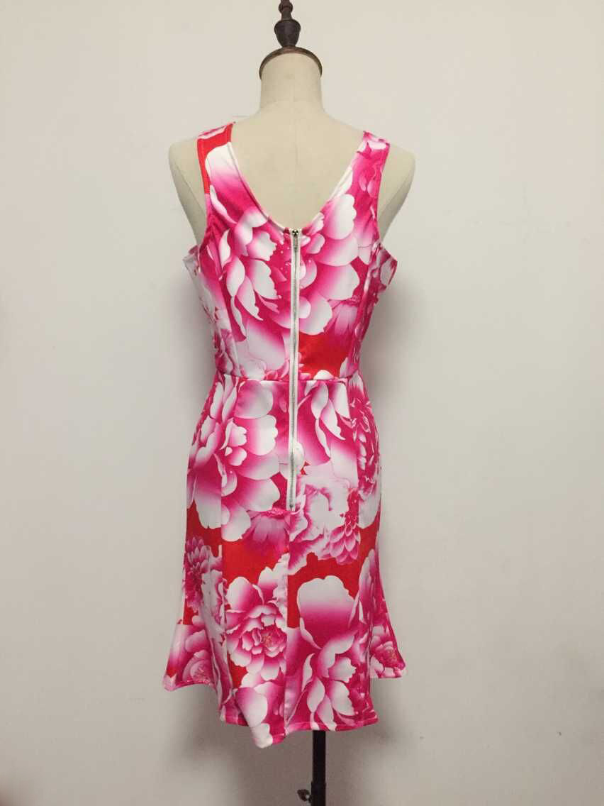 Cheap Sexy V Neck Floral Print Tank Sleeveless Pink Cotton Sheath Mini Dress