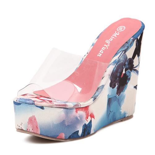 Stylish Print Wedge Super High Heel Blue PU Slides