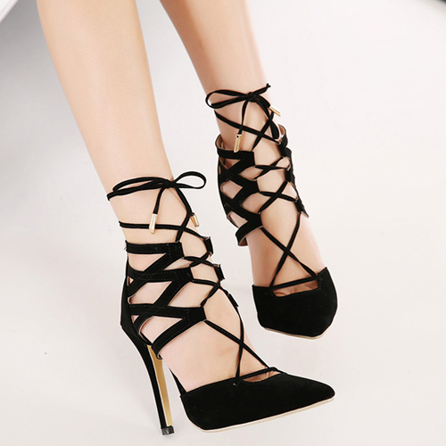 Cheap Fashion Pointed Closed Toe Lace-up Stiletto Super High Heel ...