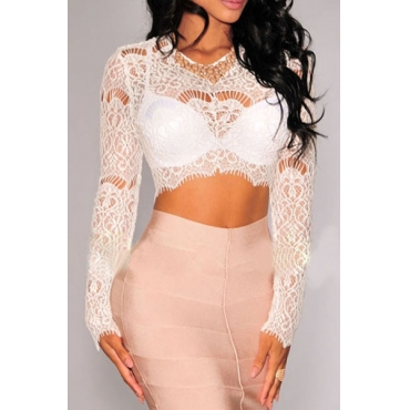 Sexy O Neck Long Sleeves Hollow-out Solid White Lace Crop Top