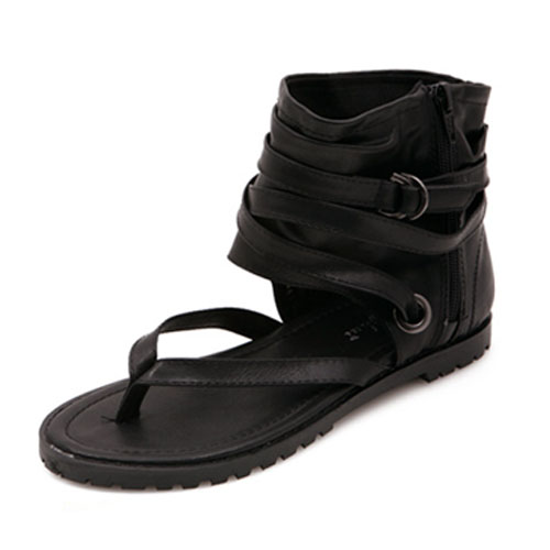 Casual Clip Toe Flat Low Heel Black Sandálias de PU