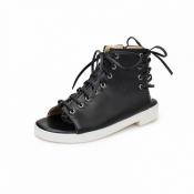 Cheap Fashion Peep Toe Lace-up Flat Low Heel Black