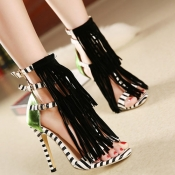 Trendy Peep Toe Patchwork Striped Tassels Decorate
