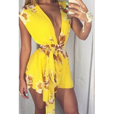 Sexy V Neck Sleeveless Floral Print Yellow Chiffon One-piece Regular Jumpsuit