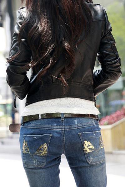 Fashion Turndown Collar Long Sleeves Zipper Design Black PU Short Coat