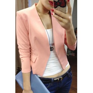 Fashion Long Sleeves Pink Polyester Blazer
