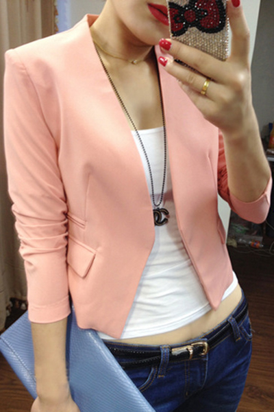Fashion Long Sleeves Pink Polyester Blazer