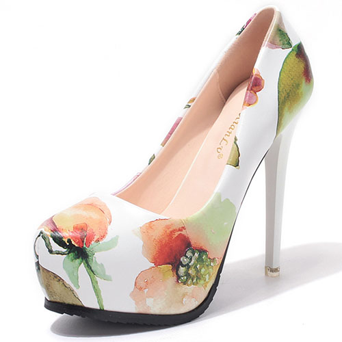 43e8e91aa Fashion Round Closed Toe Floral Print Platform Stiletto Super High Heel  White PU Basic Pumps
