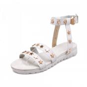 Fashion Stars Embellished Flat Low Heel White PU A