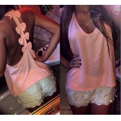 Sexy V Neck Backless Bows Decorated Solid Pink Tan
