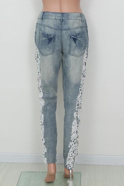Botón De Moda Volar Pantalones De Mezclilla Azul Medio