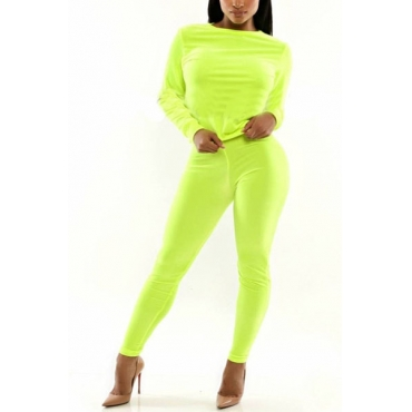 Casual Long Sleeves Green Polyester Two-piece Regular Pants Set